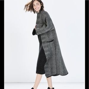 Zara Herringbone Knit Coat Grey Medium